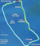 Click here for a larger map of Fakarava (map courtesy of Tahiti Tourisme)